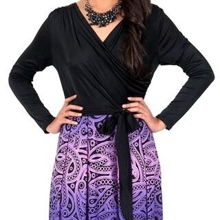 KOH KOH Women's Cross Over Wrap Long Sleeve Printed Maxi Dress