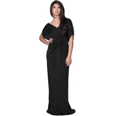 KOH KOH Long Grecian V-Neck Sexy Evening Short Sleeve Maxi Dress Gown