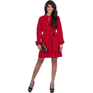Koh Koh Women's Long Sleeve Knee Length Midi Dress with Belt