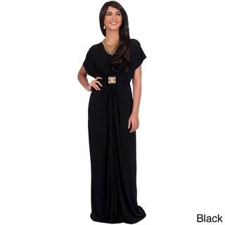KOH KOH Women's V-neck Short Sleeve Ruched Waist Maxi Dress