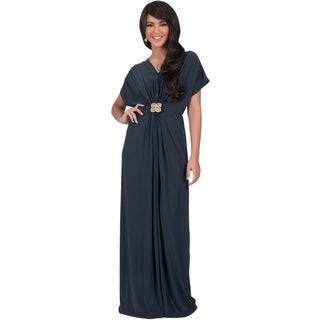 KOH KOH Women's V-neck Short Sleeve Ruched Waist Maxi Dress