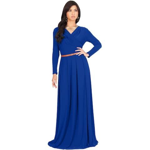 KOH KOH Long Sleeve Wrap Flowy Modest Fall Winter Maxi Dress Gown