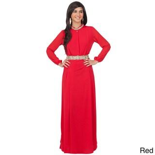 KOH KOH Women's Long Sleeve Embellished Empire Waist Maxi Dress