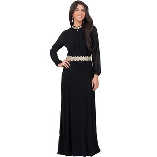 KOH KOH Women's Long Sleeve Embellished Empire Waist Maxi Dress