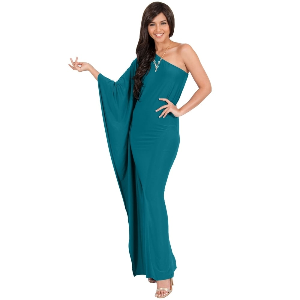 KOH KOH Women One Shoulder Sleeve Slimming Cocktail Gown Maxi Dress