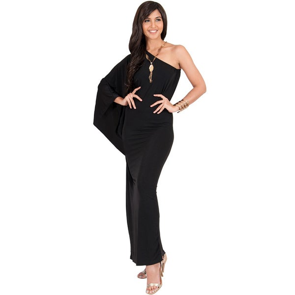 Koh Koh Women\'s One Shoulder Single Sleeve Slimming Cocktail Gown ...