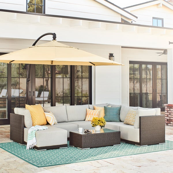 Shop Aventura 8 Piece Wicker Sectional Set Free Shipping Today