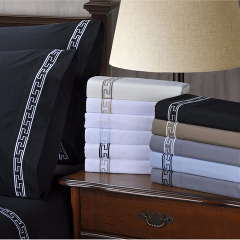 Superior Wrinkle Resistant Embroidered Pillowcases (Set of 2)