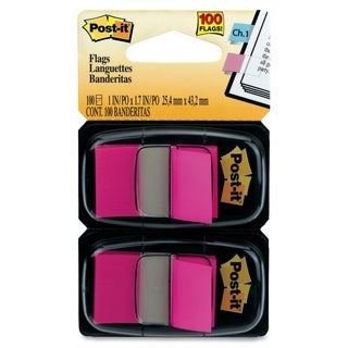 Post-it Flags 680-BP2, 1 in x 1.719 in (2.54 cm x 4.31 cm) Bright Pink, 2-pk - 100/PK