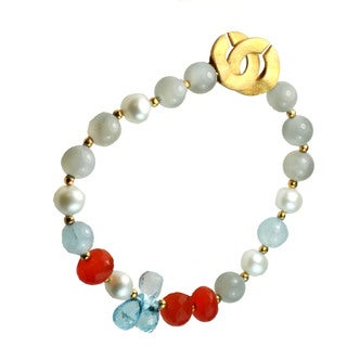 One-of-a-kind Michael Valitutti Pearl & Moonstone Gemstone Bracelet with Swiss Blue Topaz Briolette's