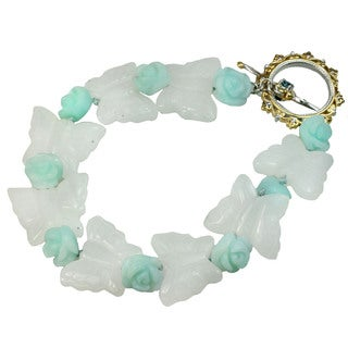 One-of-a-kind Michael Valitutti Milky Quartz & Green Amazonite Butterfly Gemstone Bracelet