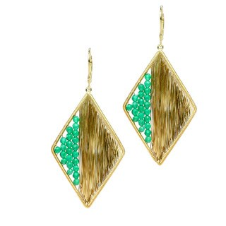 Michael Valitutti Green Onyx Wrapped Rhombus Drop Earring