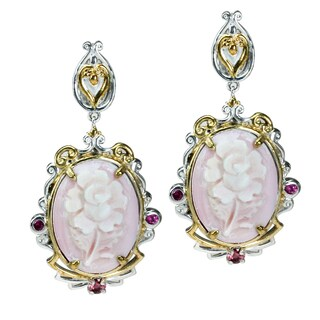 Michael Valitutti Pink Carved Floral Shell Earrings with Pink Sapphire