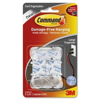 Command Clear Large Cord Clips w/Clear Strips 17303CLR - 2/PK