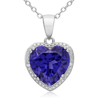 3 Carat Created Tanzanite and Diamond Heart Necklace in Sterling Silver, 18 Inches