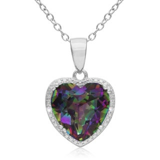 3 Carat Mystic Topaz and Diamond Heart Necklace in Sterling Silver, 18 Inches