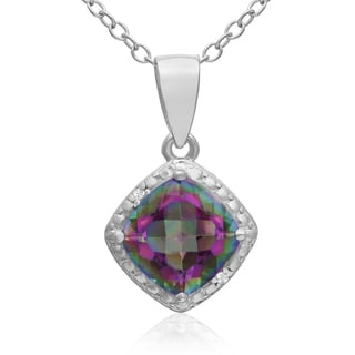 1 3/4 TGW Cushion Cut Mystic Topaz And Diamond Necklace, 18 Inches