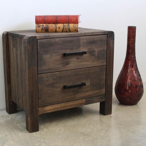 International Caravan Malmo Two Drawer Solid Acacia Hardwood Side Table