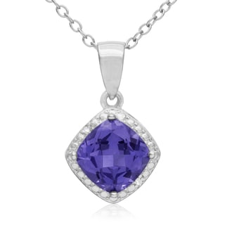 1 3/4 TGW Cushion Cut Created Tanzanite And Diamond Necklace, 18 Inches