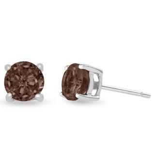 2 TGW Round Smoky Quartz Earrings In Sterling Silver - Brown