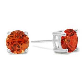 2 TGW Round Created Padparadscha Sapphire Earrings In Sterling Silver