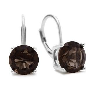 3 1/2 TGW Smoky Quartz Leverback Earrings In Sterling Silver