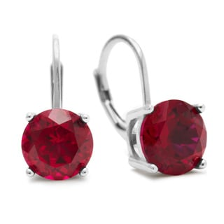 5 1/2 Carat Created Ruby Leverback Earrings In Sterling Silver