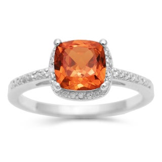 1 3/4 TGW Cushion Cut Created Padparadscha Sapphire and Diamond Ring in Sterling Silver
