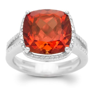 5 1/3 TGW Split Shank Cushion Cut Created Padparadscha Sapphire and Diamond Ring In Sterling Silver