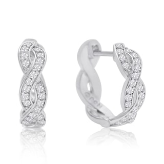 1/4 Carat Diamond Swirl Hoop Earrings, 1/2 Inch, Hidden Snap Backs