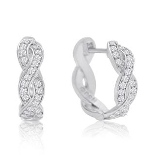 1/4 Carat Diamond Swirl Hoop Earrings, 1/2 Inch, Hidden Snap Backs