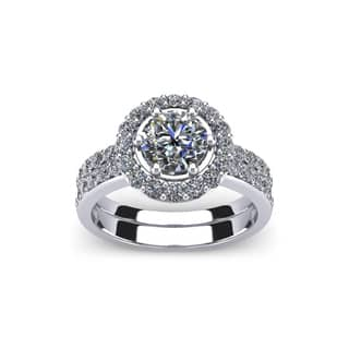14k White Gold 2ct. Diamond Bridal Set Ring with 1ct. Clarity Enhanced Round-cut Center Diamond - White H-I|https://ak1.ostkcdn.com/images/products/10909224/P17941009.jpg?impolicy=medium