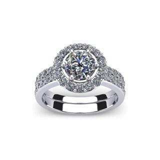 14k White Gold 2ct. Diamond Bridal Set Ring with 1ct. Clarity Enhanced Round-cut Center Diamond - White H-I
