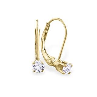 1/4 Carat Diamond Leverback Earrings in 14 Karat Yellow Gold (J-K, I2-I3)
