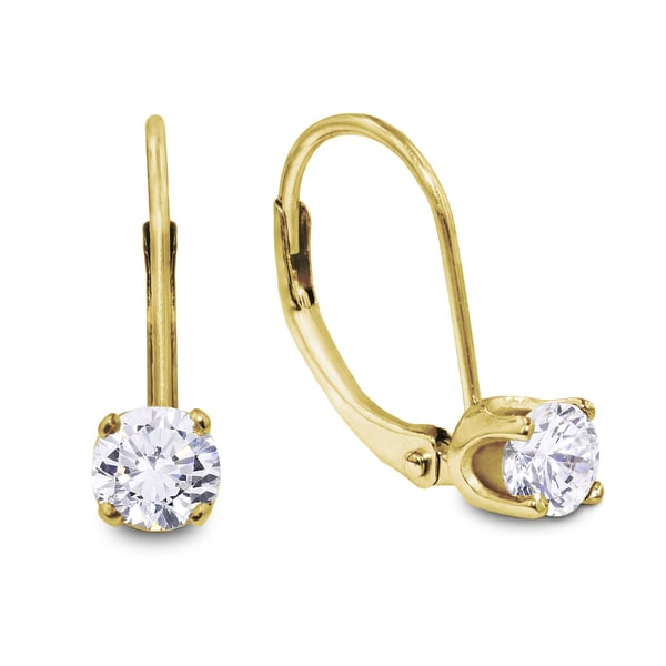 1 2 Carat Diamond Leverback Earrings In 14 Karat Yellow Gold J K I2