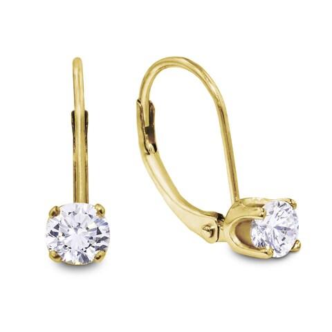 1/2 Carat Diamond Leverback Earrings in 14 Karat Yellow Gold (J-K, I2-I3)