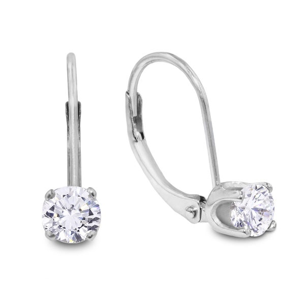 1 2 Carat Diamond Leverback Earrings In 14 Karat White Gold J K I2
