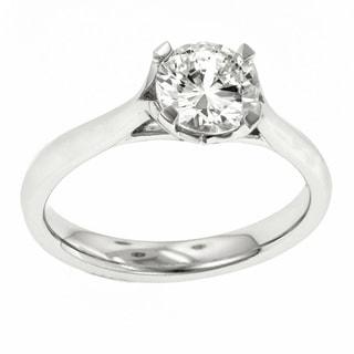 18k White Gold MaeVona Solitaire Semi Mount Cubic Zirconia Engagement Ring
