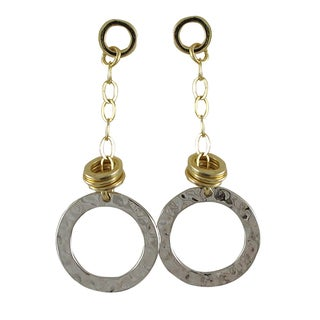 Luxiro Two-tone Gold and Rhodium Finish Hammered Circle Earrings