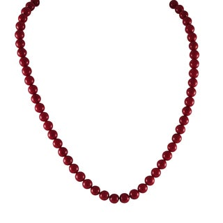 Luxiro Gold Finish Red Shell Pearls Children's Strand Necklace