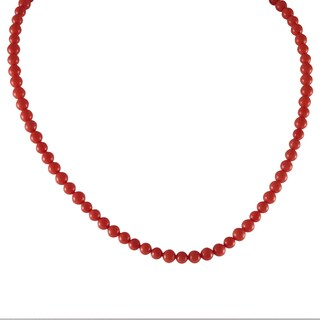 Luxiro Gold Finish Peach Shell Pearls Children's Strand Necklace - Orange