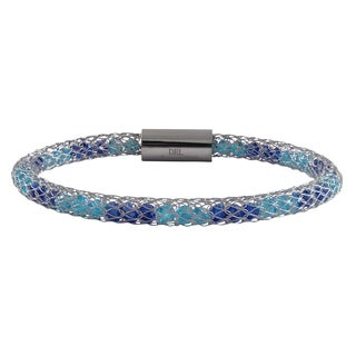 Luxiro Rhodium Finish Blue Crystals Mesh Bangle Bracelet