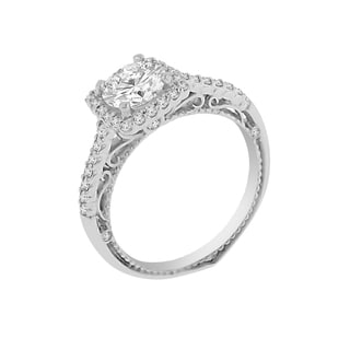 18k White Gold Verragio Halo Semi Mount Cubic Zirconia Center and 1/3ct TDW Diamond Ring (F-G, VS1-VS2)