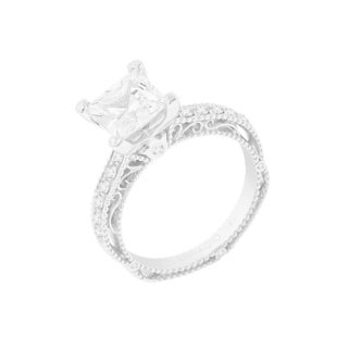 Verragio 14k White Gold Semi-Mount Cubic Zirconia and 1/5ct TDW Diamond Engagement Ring