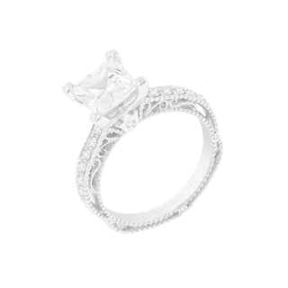 14k White Gold Verragio Side Stone Semi Mount Cubic Zirconia Center and 1/5ct TDW Diamond Ring (F-G, VS1-VS2)