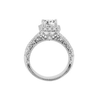 14k White Gold Verragio Princess Cut Halo Semi Mount Cubic Zirconia Center and 1/2ct TDW Diamond Ring (F-G, VS1-VS2)