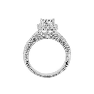 14k White Gold Princess Cut Cubic Zirconia and 1/2ct TDW Diamond Ring