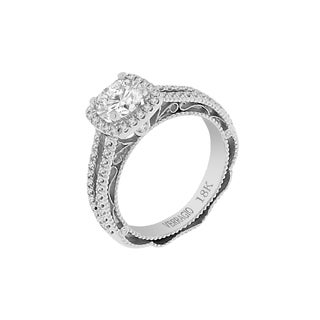 18k White Gold Verragio Split Shank Halo Semi Mount Cubic Zirconia Center and 1/3ct TDW Diamond Ring (F-G, VS1-VS2)