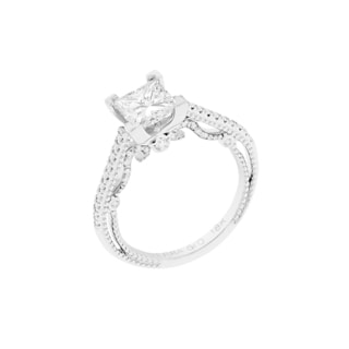 18k White Gold Verragio Side Stone Semi Mount Cubic Zirconia Center and 1/4ct TDW Diamond Ring