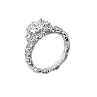 18k White Gold Verragio 3-stone Halo Semi Mount Cubic Zirconia Center and 1/2ct TDW Diamond Ring